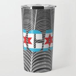Chicago Flag Marina Tower City Architecture Text Photography Typography Travel Mug