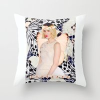 sarah paulson Throw Pillows featuring Sarah Paulson Butterfly Edit by I Like Birds Too