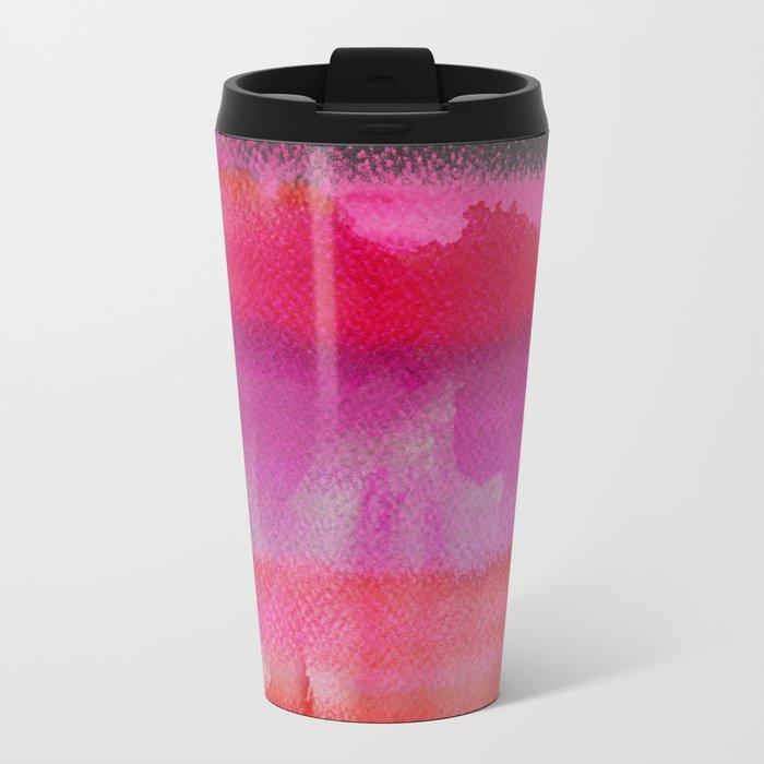 Red on Pink Metal Travel Mug