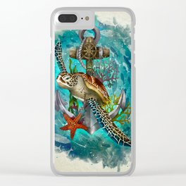Turtle and Sea Clear iPhone Case