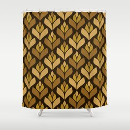 Dark Retro Trefoil Pattern Shower Curtain