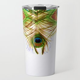 GORGEOUS BLUE-GREEN PEACOCK FEATHERS ART Travel Mug