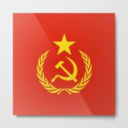 Russian Communist Flag Hammer & Sickle Metal Print