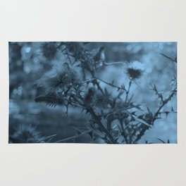 photography of wild plants of the field with manipulation in blue color perfect for illustrations Rug