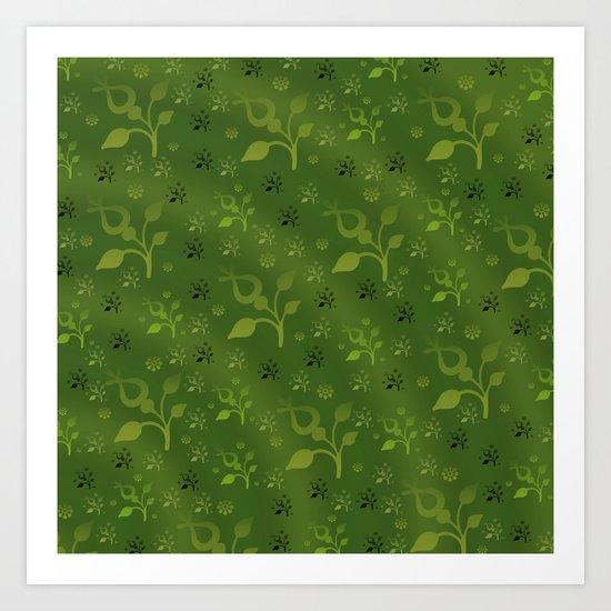 Green floral mix Art Print