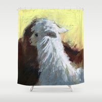 alpaca Shower Curtains featuring Alpaca Sunrise by J Han