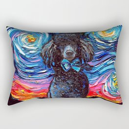 Black Poodle Night Rectangular Pillow