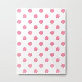 Polka Dots - Flamingo Pink on White Metal Print