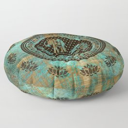 Elephants Lotus Flower Distressed Mandala Design Floor Pillow