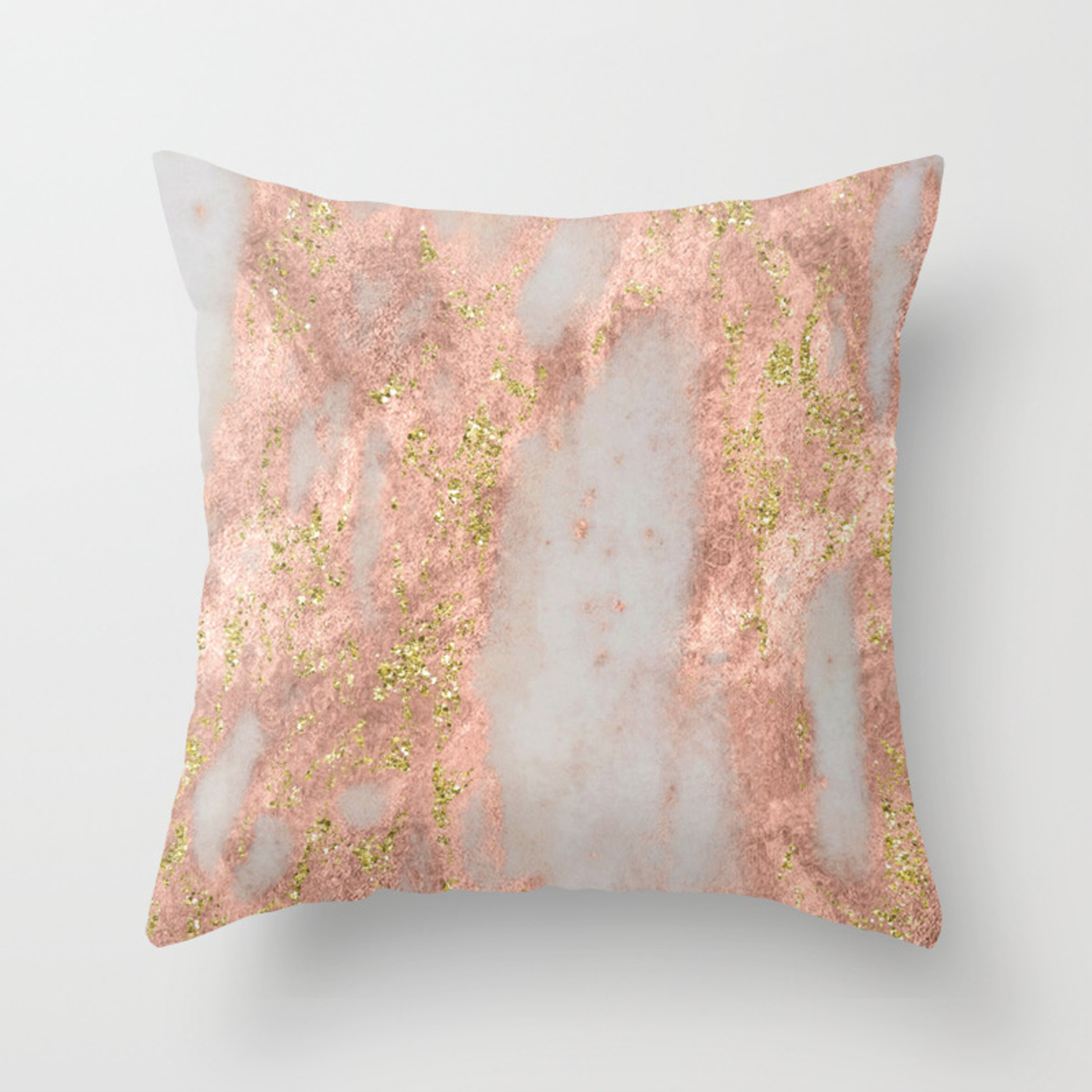 Yellow Gold Throw Pillows.Rose Gold Marble With Yellow Gold Glitter Throw Pillow
