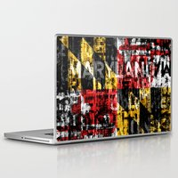 maryland Laptop & iPad Skins featuring Maryland Flag Print by david zobel