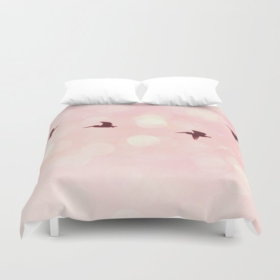 Pelicans Flying Duvet Cover