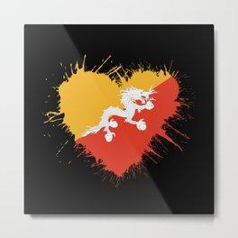 Bhutan Heart Flag Metal Print