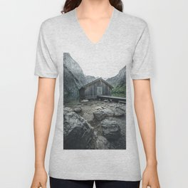 The famous wooden Boathouse at Lake Obersee in Germany Unisex V-Neck