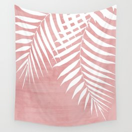 Pink Paint Stroke of Palm Leaves Wall Tapestry