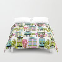 karen hallion Duvet Covers featuring Boutiques and Downtown Buildings by Karen Fields by Karen Fields Design
