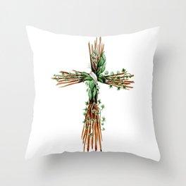 Rustic Watercolor Cross Throw Pillow