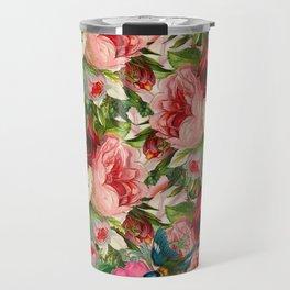Colorful Floral Pattern   Je t'aime encore Travel Mug