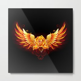 Fire Rose with Wings Metal Print
