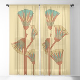 Ancient Egyptian lotus - Colorful Sheer Curtain