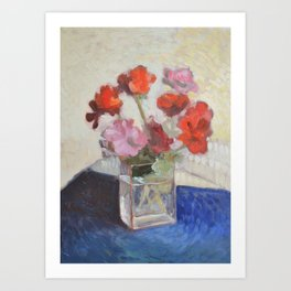 Flower Bouquet of Geraniums Art Print
