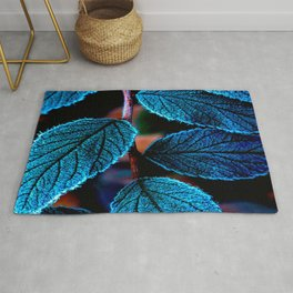 Peacock Blue Leaves Nature Background #decor #society6 #buyart Rug