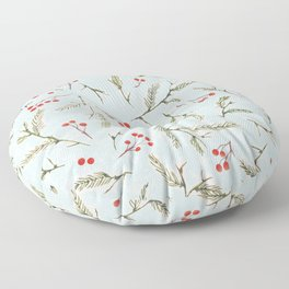 Christmas Pine and Berries Cool Blue Floor Pillow