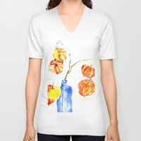 lanterns V-neck T-shirts featuring Chinese Lanterns by Kate Havekost Fine Art