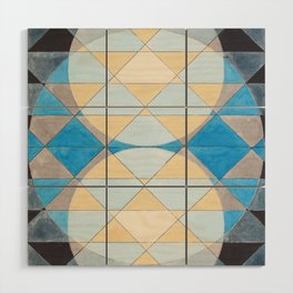 Triangle Pattern No. 14 Circles in Black, Blue and Yellow Wood Wall Art