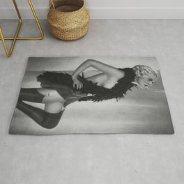 Roaring Twenties: Sex, noise, doom; Blond Jazz Age Flapper with cigarette black and white photography - photographs Rug