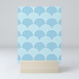 Simple Deco Fan Pattern - Blue Mini Art Print