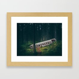 Surreal Iceland Plane Crash-Sólheimasandur Plane Crash in a Swedish Forest Framed Art Print