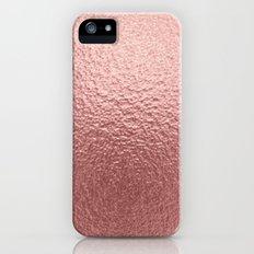 Rose quartz- pink metal foil background iPhone SE Slim Case