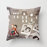 amelie Throw Pillows featuring Amelie by The Fan Wars