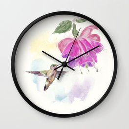 Hummingbird and fuchsia Flower watercolor painting Wall Clock