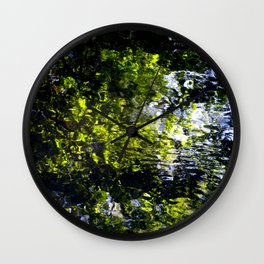 Ripples - abstract reflection of trees in moving water Wall Clock