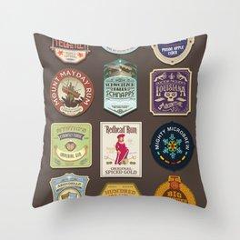 Liquor Stickers Throw Pillow