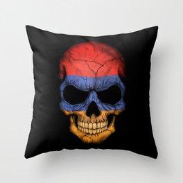 Dark Skull with Flag of Armenia Throw Pillow