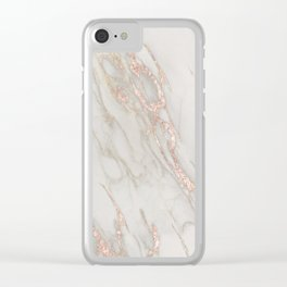 Marble Rose Gold Blush Pink Metallic by Nature Magick Clear iPhone Case