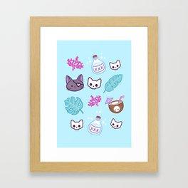 Pirate Cat // Turquoise Framed Art Print