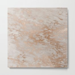 Rose Gold Copper Glitter Metal Foil Style Marble Metal Print