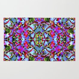 Multicolored Abstract Collage Pattern Rug