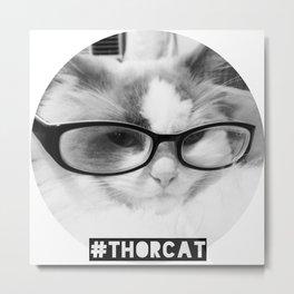 Hipster Thor Cat Metal Print