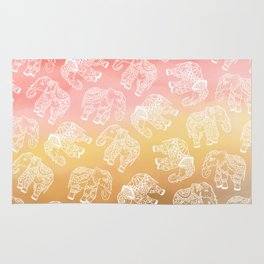 Paisley floral lace elephants illustration pink brown boho watercolor Rug