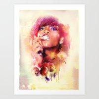 rihanna Art Prints featuring Rihanna by turksworks