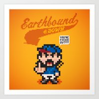 earthbound Art Prints featuring Earthbound & Down by Jango Snow