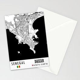 Dakar, SENEGAL Road Map Art - Earth Tones Stationery Cards