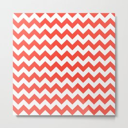 Red Chevron Metal Print