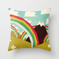 yetiland Throw Pillows featuring Happy happy joy joy! by Yetiland