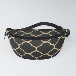 Elegant geometrical black faux gold quatrefoil Fanny Pack